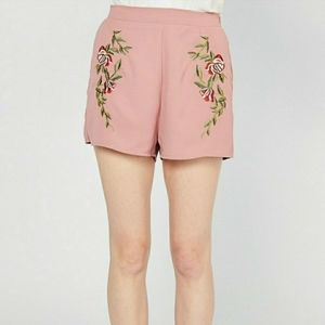 Entro High Waisted Floral Embroidered Shorts